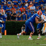 University of Florida Gators quarterback Feleipe Franks scrambles during the second half as the Florida Gators defeat tne Tennessee Volunteers 26-20 at Ben Hill Griffin Stadium in Gainesville, Florida. September 16th, 2017.  Gator Country photo by David Bowie.