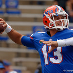 University of Florida Gators quarterback Feleipe Franks throwing during pregame as the Florida Gators defeat tne Tennessee Volunteers 26-20 at Ben Hill Griffin Stadium in Gainesville, Florida. September 16th, 2017.  Gator Country photo by David Bowie.