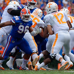 University of Florida Gators defensive lineman Cece Jefferson breaks free from a block and rushes toward Tennessee quarterback Quinten Dormady during the first half as the Florida Gators defeat tne Tennessee Volunteers 26-20 at Ben Hill Griffin Stadium in Gainesville, Florida. September 16th, 2017.  Gator Country photo by David Bowie.