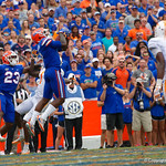 University of Florida Gators defensive back Duke Dawson leaps into the air for an interception in the endzone but is unable to come down with it during the second half as the Florida Gators defeat tne Tennessee Volunteers 26-20 at Ben Hill Griffin Stadium in Gainesville, Florida. September 16th, 2017.  Gator Country photo by David Bowie.
