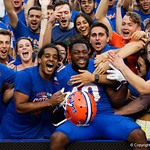 University of Florida Gators wide receiver Josh Hammond and the Gators celebrate as the Florida Gators defeat the Tennessee Volunteers 26-20 at Ben Hill Griffin Stadium in Gainesville, Florida. September 16th, 2017.  Gator Country photo by David Bowie.