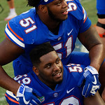 University of Florida Gators offensive lineman Antonio Riles,University of Florida Gators offensive lineman T.J. McCoy and the Gators celebrate as the Florida Gators defeat the Tennessee Volunteers 26-20 at Ben Hill Griffin Stadium in Gainesville, Florida. September 16th, 2017.  Gator Country photo by David Bowie.