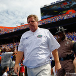 University of Florida Gators head coach Jim McElwain and the Gators take the field the Florida Gators defeat tne Tennessee Volunteers 26-20 at Ben Hill Griffin Stadium in Gainesville, Florida. September 16th, 2017.  Gator Country photo by David Bowie.