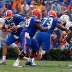 University of Florida Gators quarterback Feleipe Franks gets sacked during the first half as the Florida Gators defeat tne Tennessee Volunteers 26-20 at Ben Hill Griffin Stadium in Gainesville, Florida. September 16th, 2017.  Gator Country photo by David Bowie.