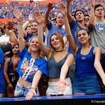 Gators fans cheer on their team during the first half as the Florida Gators defeat tne Tennessee Volunteers 26-20 at Ben Hill Griffin Stadium in Gainesville, Florida. September 16th, 2017.  Gator Country photo by David Bowie.