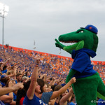 Alber the Gator and Gators fans cheer on their team during the first half as the Florida Gators defeat tne Tennessee Volunteers 26-20 at Ben Hill Griffin Stadium in Gainesville, Florida. September 16th, 2017.  Gator Country photo by David Bowie.