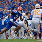 University of Florida Gators defensive back Jeawon Taylor chases down Tennessee Volunteers quarterback Quinten Dormady for sack during the first half as the Florida Gators defeat tne Tennessee Volunteers 26-20 at Ben Hill Griffin Stadium in Gainesville, Florida. September 16th, 2017.  Gator Country photo by David Bowie.