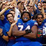 University of Florida Gators offensive lineman Fred Johnson and the Gators celebrate as the Florida Gators defeat the Tennessee Volunteers 26-20 at Ben Hill Griffin Stadium in Gainesville, Florida. September 16th, 2017.  Gator Country photo by David Bowie.