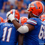 University of Florida Gators linebacker Vosean Joseph and University of Florida Gators offensive lineman Jawaan Taylor during pregame as the Florida Gators defeat tne Tennessee Volunteers 26-20 at Ben Hill Griffin Stadium in Gainesville, Florida. September 16th, 2017.  Gator Country photo by David Bowie.
