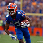 University of Florida Gators cornerback CJ Henderson with a pick six for the second game in a row during the second half as the Florida Gators defeat tne Tennessee Volunteers 26-20 at Ben Hill Griffin Stadium in Gainesville, Florida. September 16th, 2017.  Gator Country photo by David Bowie.