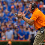 Tennessee Volunteers head coach Butch Jones coaching up his team during the first half as the Florida Gators defeat tne Tennessee Volunteers 26-20 at Ben Hill Griffin Stadium in Gainesville, Florida. September 16th, 2017.  Gator Country photo by David Bowie.