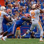 University of Florida Gators linebacker Jeremiah Moon dives to get a hit on Tennessee Volunteers quarterback Quinten Dormady during the first half as the Florida Gators defeat tne Tennessee Volunteers 26-20 at Ben Hill Griffin Stadium in Gainesville, Florida. September 16th, 2017.  Gator Country photo by David Bowie.