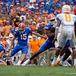 University of Florida Gators kicker Eddy Pineiro kicks in a field goal to put the gators up 3-0 during the first half as the Florida Gators defeat tne Tennessee Volunteers 26-20 at Ben Hill Griffin Stadium in Gainesville, Florida. September 16th, 2017.  Gator Country photo by David Bowie.