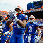 University of Florida Gators running back Malik Davis and the Gators take the field the Florida Gators defeat tne Tennessee Volunteers 26-20 at Ben Hill Griffin Stadium in Gainesville, Florida. September 16th, 2017.  Gator Country photo by David Bowie.