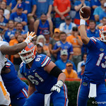 University of Florida Gators quarterback Feleipe Franks throwing during the second half as the Florida Gators defeat tne Tennessee Volunteers 26-20 at Ben Hill Griffin Stadium in Gainesville, Florida. September 16th, 2017.  Gator Country photo by David Bowie.