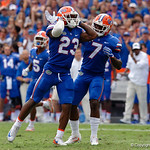 University of Florida Gators defensive back Chauncey Gardner, Jr. and University of Florida Gators defensive back Duke Dawson react after Gardner dropped an interception during the first half as the Florida Gators defeat tne Tennessee Volunteers 26-20 at Ben Hill Griffin Stadium in Gainesville, Florida. September 16th, 2017.  Gator Country photo by David Bowie.