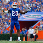 University of Florida Gators defensive back Chauncey Gardner, Jr. dancing during the first half as the Florida Gators defeat tne Tennessee Volunteers 26-20 at Ben Hill Griffin Stadium in Gainesville, Florida. September 16th, 2017.  Gator Country photo by David Bowie.