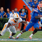 University of Florida Gators athlete Kadarius Toney breaks free from a tackle and turns upfield during the first half as the Florida Gators defeat tne Tennessee Volunteers 26-20 at Ben Hill Griffin Stadium in Gainesville, Florida. September 16th, 2017.  Gator Country photo by David Bowie.