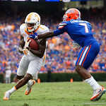 University of Florida Gators defensive back Duke Dawson attempts to strip the ball away from Tennessee Volunteers wide receiver Marquez Callaway  during the second half as the Florida Gators defeat tne Tennessee Volunteers 26-20 at Ben Hill Griffin Stadium in Gainesville, Florida. September 16th, 2017.  Gator Country photo by David Bowie.