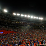 Fans light up the stadium using their phones during the second half as the Florida Gators drop to 3-3 on the season with a loss to tne Texas A&M Aggies 19-17 at Ben Hill Griffin Stadium in Gainesville, Florida. October 14th, 2017.  Gator Country photo by David Bowie.