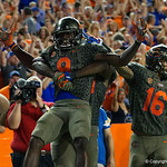 University of Florida Gators wide receiver Dre Massey and University of Florida Gators offensive lineman T.J. McCoy celebrate Massey's tpouchdown during the second haf as the Florida Gators drop to 3-3 on the season with a loss to tne Texas A&M Aggies 19-17 at Ben Hill Griffin Stadium in Gainesville, Florida. October 14th, 2017.  Gator Country photo by David Bowie.