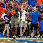 University of Florida Gators tight end C'yontai Lewis dancing as he comes onto the field during pregame as the Florida Gators drop to 3-3 on the season with a loss to tne Texas A&M Aggies 19-17 at Ben Hill Griffin Stadium in Gainesville, Florida. October 14th, 2017.  Gator Country photo by David Bowie.
