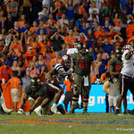 Aggies linebacker Tyrel Dodson celebrates after his interception to seal the game during the second haf as the Florida Gators drop to 3-3 on the season with a loss to tne Texas A&M Aggies 19-17 at Ben Hill Griffin Stadium in Gainesville, Florida. October 14th, 2017.  Gator Country photo by David Bowie.