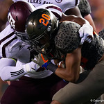 University of Florida Gators running back Malik Davis tackled during the first haf as the Florida Gators drop to 3-3 on the season with a loss to tne Texas A&M Aggies 19-17 at Ben Hill Griffin Stadium in Gainesville, Florida. October 14th, 2017.  Gator Country photo by David Bowie.