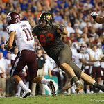 University of Florida Gators defensive lineman Taven Bryan sacking aggies quarterback Kellon Mond during the second haf as the Florida Gators drop to 3-3 on the season with a loss to tne Texas A&M Aggies 19-17 at Ben Hill Griffin Stadium in Gainesville, Florida. October 14th, 2017.  Gator Country photo by David Bowie.