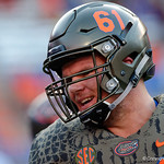 University of Florida Gators offensive lineman Brett Heggie during pregame as the Florida Gators drop to 3-3 on the season with a loss to tne Texas A&M Aggies 19-17 at Ben Hill Griffin Stadium in Gainesville, Florida. October 14th, 2017.  Gator Country photo by David Bowie.