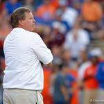 University of Florida Gators head coach Jim McElwain during pregame as the Florida Gators drop to 3-3 on the season with a loss to tne Texas A&M Aggies 19-17 at Ben Hill Griffin Stadium in Gainesville, Florida. October 14th, 2017.  Gator Country photo by David Bowie.