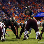 University of Florida Gators kicker Eddy Pineiro kicks in a field goal during the first haf as the Florida Gators drop to 3-3 on the season with a loss to tne Texas A&M Aggies 19-17 at Ben Hill Griffin Stadium in Gainesville, Florida. October 14th, 2017.  Gator Country photo by David Bowie.