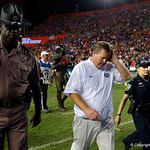 University of Florida Gators head coach Jim McElwain walks off the field during postgame as the Florida Gators drop to 3-3 on the season with a loss to tne Texas A&M Aggies 19-17 at Ben Hill Griffin Stadium in Gainesville, Florida. October 14th, 2017.  Gator Country photo by David Bowie.