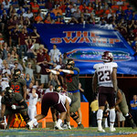 University of Florida Gators quarterback Feleipe Franks calling out protections during the first haf as the Florida Gators drop to 3-3 on the season with a loss to tne Texas A&M Aggies 19-17 at Ben Hill Griffin Stadium in Gainesville, Florida. October 14th, 2017.  Gator Country photo by David Bowie.