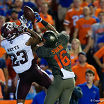 University of Florida Gators wide receiver Freddie Swain and Aggies defensive back Armani Watts battle for a ball in the endzone during the first haf as the Florida Gators drop to 3-3 on the season with a loss to tne Texas A&M Aggies 19-17 at Ben Hill Griffin Stadium in Gainesville, Florida. October 14th, 2017.  Gator Country photo by David Bowie.