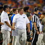 University of Florida Gators head coach Jim McElwain during the second haf as the Florida Gators drop to 3-3 on the season with a loss to tne Texas A&M Aggies 19-17 at Ben Hill Griffin Stadium in Gainesville, Florida. October 14th, 2017.  Gator Country photo by David Bowie.