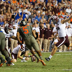 Aggies kicker Daniel LaCamera  kicks in a field goal during the second haf as the Florida Gators drop to 3-3 on the season with a loss to tne Texas A&M Aggies 19-17 at Ben Hill Griffin Stadium in Gainesville, Florida. October 14th, 2017.  Gator Country photo by David Bowie.