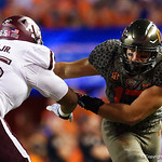 University of Florida Gators defensive lineman Jordan Sherit shedding a block during the first haf as the Florida Gators drop to 3-3 on the season with a loss to tne Texas A&M Aggies 19-17 at Ben Hill Griffin Stadium in Gainesville, Florida. October 14th, 2017.  Gator Country photo by David Bowie.