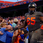 University of Florida Gators offensive lineman Jawaan Taylor during pregame as the Florida Gators drop to 3-3 on the season with a loss to tne Texas A&M Aggies 19-17 at Ben Hill Griffin Stadium in Gainesville, Florida. October 14th, 2017.  Gator Country photo by David Bowie.