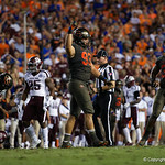 University of Florida Gators defensive lineman Taven Bryan celebrates after his sack during the second haf as the Florida Gators drop to 3-3 on the season with a loss to tne Texas A&M Aggies 19-17 at Ben Hill Griffin Stadium in Gainesville, Florida. October 14th, 2017.  Gator Country photo by David Bowie.