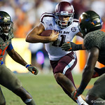 Aggies quarterback Kellen Mond rushing around the edge during the second haf as the Florida Gators drop to 3-3 on the season with a loss to tne Texas A&M Aggies 19-17 at Ben Hill Griffin Stadium in Gainesville, Florida. October 14th, 2017.  Gator Country photo by David Bowie.