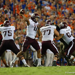 Aggies quarterback Kellen Mond throwing during the first haf as the Florida Gators drop to 3-3 on the season with a loss to tne Texas A&M Aggies 19-17 at Ben Hill Griffin Stadium in Gainesville, Florida. October 14th, 2017.  Gator Country photo by David Bowie.