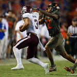 University of Florida Gators defenive back Brad Stewart makes a tackle during the second haf as the Florida Gators drop to 3-3 on the season with a loss to tne Texas A&M Aggies 19-17 at Ben Hill Griffin Stadium in Gainesville, Florida. October 14th, 2017.  Gator Country photo by David Bowie.