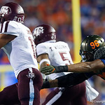 University of Florida Gators defensive lineman Cece Jefferson dives in an attempt to make a sack during the first haf as the Florida Gators drop to 3-3 on the season with a loss to tne Texas A&M Aggies 19-17 at Ben Hill Griffin Stadium in Gainesville, Florida. October 14th, 2017.  Gator Country photo by David Bowie.