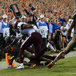 University of Florida Gators wide receiver Dre Massey dives into the endzone during the second haf as the Florida Gators drop to 3-3 on the season with a loss to tne Texas A&M Aggies 19-17 at Ben Hill Griffin Stadium in Gainesville, Florida. October 14th, 2017.  Gator Country photo by David Bowie.