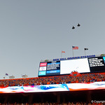 A flyover as the national anthem concludes during pregame as the Florida Gators drop to 3-3 on the season with a loss to tne Texas A&M Aggies 19-17 at Ben Hill Griffin Stadium in Gainesville, Florida. October 14th, 2017.  Gator Country photo by David Bowie.