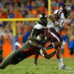University of Florida Gators defensive back Chauncey Gardner, Jr. dives to make a tackle during the first haf as the Florida Gators drop to 3-3 on the season with a loss to tne Texas A&M Aggies 19-17 at Ben Hill Griffin Stadium in Gainesville, Florida. October 14th, 2017.  Gator Country photo by David Bowie.