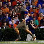 University of Florida Gators quarterback Feleipe Franks throwing during the first haf as the Florida Gators drop to 3-3 on the season with a loss to tne Texas A&M Aggies 19-17 at Ben Hill Griffin Stadium in Gainesville, Florida. October 14th, 2017.  Gator Country photo by David Bowie.