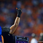 University of Florida Gators defensive lineman Jordan Sherit is carted off the field but gives a thumbs up during the second haf as the Florida Gators drop to 3-3 on the season with a loss to tne Texas A&M Aggies 19-17 at Ben Hill Griffin Stadium in Gainesville, Florida. October 14th, 2017.  Gator Country photo by David Bowie.