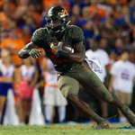 University of Florida Gators running back Lamical Perine rushing during the first haf as the Florida Gators drop to 3-3 on the season with a loss to tne Texas A&M Aggies 19-17 at Ben Hill Griffin Stadium in Gainesville, Florida. October 14th, 2017.  Gator Country photo by David Bowie.